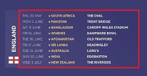 England world cup fixture dates