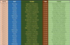 ICC Cricket World Cup 2019 Schedule Free Download PDF