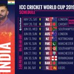 India Team Schedule, Fixture, Time Table for ICC Cricket World Cup 2019