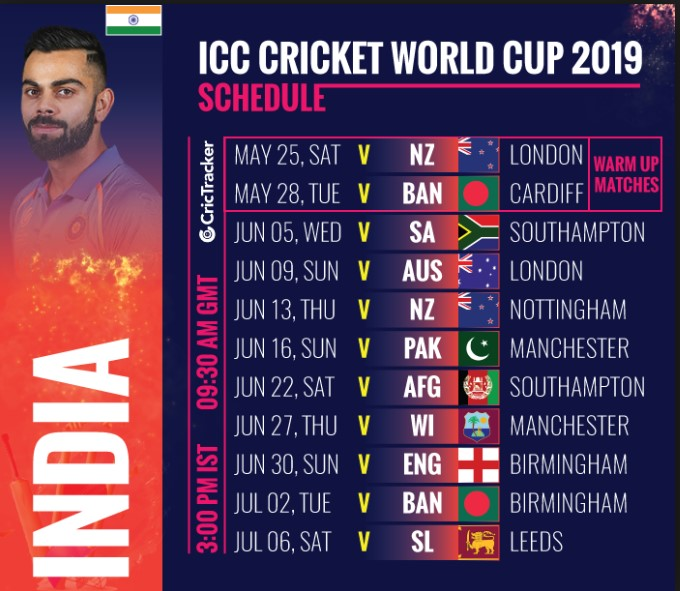 India Schedule for ICC CWC 2019