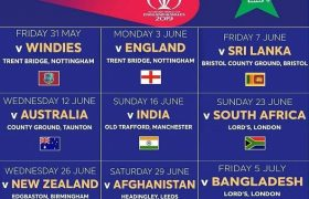 Pakistan team Schedule, Fixtures, time table for ICC Cricket World Cup 2019