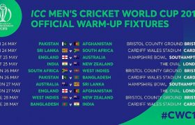 ICC Cricket World Cup 2019 Warm Up Schedule