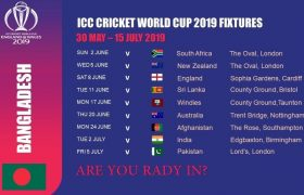 Bangladesh Matches Schedule for World Cup 2019