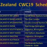 Team New Zealand Schedule for ICC Cricket World Cup 2019