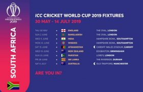 South Africa Schedule for ICC Cricket World Cup 2019