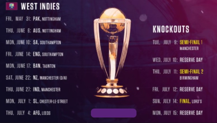 West Indies Matches Schedule for ICC Cricket World Cup 2019