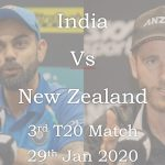 Watch India Vs New Zealand 2020 3rd T20 Match - 29 Jan 2020 Live Cricket Match