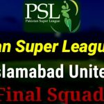 Team Islamabad United Live Streaming, Players Squad Schedule PSL 2020